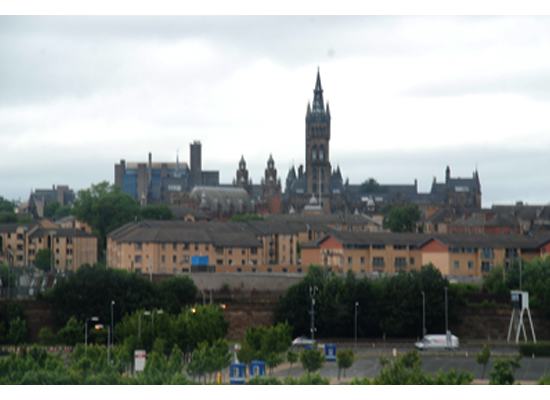Glasgow University from Glasgow Science Centre