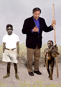 In the NOVA scienceNOW segment, host Robert Krulwich towers over an adult African Pygmy (in white shirt) and an adult H. floresiensis.