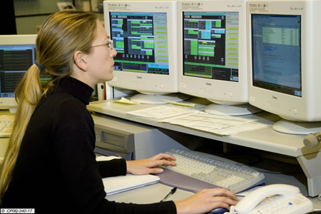 Elin Ivings on Power Supply Operations Engineer duty, where she is preparing the power supplies configuration for a JET pulse, 2006