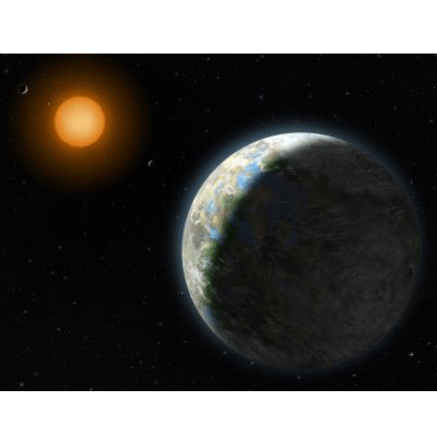 The star Gliese 581 hosts an Earth-sized planet (foreground) that orbits in the star's habitable zone. Artwork by Lynette Cook.